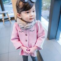 【】女童毛呢外套宝宝呢子大衣2017新款韩版3秋加厚4岁儿童