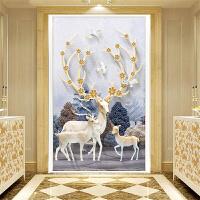 钻石画麋鹿卧室玄关贴钻十字绣竖版满钻石绣新款客厅简约现代
