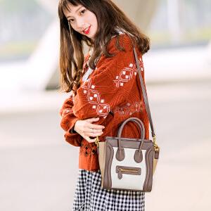 2017新款韩版包包女经典撞色时尚笑脸包百搭翅膀包手提单肩斜挎包