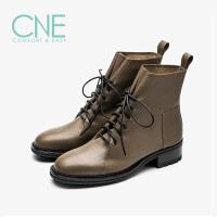 CNE2019秋冬款日系纯色圆头舒适低跟绑带马丁靴女短靴9T43501
