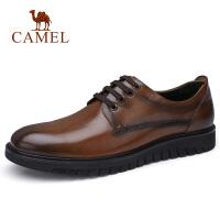 camel骆驼男鞋 秋季新品商务休闲系带皮鞋办公鞋复古英伦鞋
