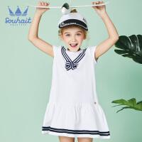 【3件3折:86元】souhait水孩儿童装夏季新款女童连衣裙时尚针织织带连衣裙儿童连衣裙