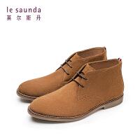莱尔斯丹 秋冬新款欧美低跟系带男靴男短靴 9TM85705