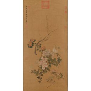 慈禧《花卉》 绢本立轴