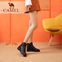 camel骆驼女鞋 冬季新品时尚英伦简约方跟舒适百搭靴子女