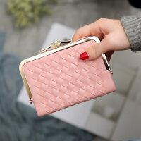 钱包女短款 小清新折叠编织甜美少女心钱夹零钱包学生个性钱夹 粉色