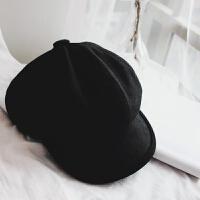 加厚帽子画家帽秋冬季羊毛毛呢男女生贝雷帽复古八角帽鸭舌报童帽 黑色帽檐滚边 画家帽408 M(56-58cm)