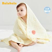 巴拉巴拉婴儿纱布浴巾初生纯棉宝宝洗澡巾柔软吸水新生儿纯棉盖毯
