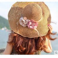 户外草帽檐大沿折叠太阳帽女夏天出游沙滩帽子遮阳帽海边防晒青年大帽
