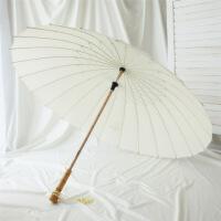 铅笔伞雨伞复古风汉中国风木质直柄伞24骨竹伞黑白男女长晴