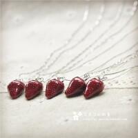 S925纯银少女心可爱小草莓锁骨链饰品项链女生闺蜜生日礼物礼盒