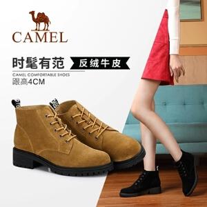 Camel/骆驼2018冬季新款 时尚质感简约舒适耐磨粗跟短筒女靴