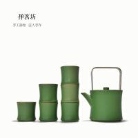包邮 创意节节高升粗陶茶具套装竹节陶瓷大茶壶提梁壶套装一壶六杯套组