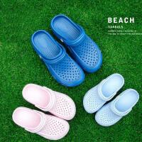 朴西夏季室外花园鞋女小孩儿童外穿洞洞鞋防滑包脚沙滩拖鞋男宝宝