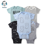 美国直邮 Gerber嘉宝婴儿连体包屁衣时尚款5件套 小熊图案 包邮包税