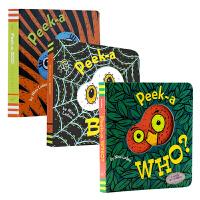 【中商原版】尼娜・兰登经典洞洞书系列3册套装 Peek a who? Peek-a-Boo英文原版