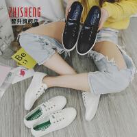 2017春季新款休闲鞋平底系带帆布鞋软面皮透气单鞋学生球鞋小白鞋