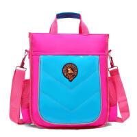 小学生书袋学习单收纳购物学生包袋装书袋子复古饭盒儿童斜挎包带饭手袋