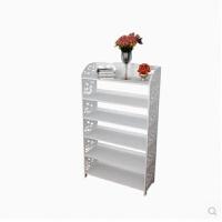 创意欧式镂空书柜防尘置物架时尚多层组装书架雕花白色收纳架