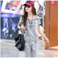 新款女装T恤七分裤女士运动套装 户外 韩版大码休闲套装