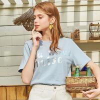 秋水伊人短袖T恤2020夏装新款女装ins潮字母印染宽松上衣女