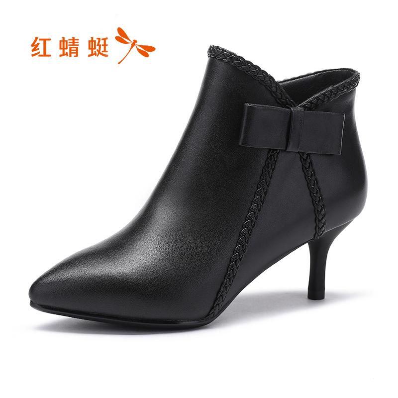 红蜻蜓女鞋真皮2017秋冬新款尖头细跟裸靴优雅蝴蝶结中跟短筒女靴