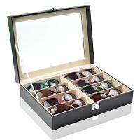 眼镜收纳盒8格皮太阳镜展示盒木质大墨镜盒多格 Q