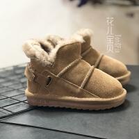 冬款儿童真皮雪地靴男女童真毛加绒保暖棉靴1-6岁宝宝软底保暖鞋