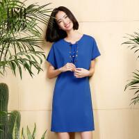 欧莎2017夏装新款女装蓝色系带简约休闲连衣裙B13075