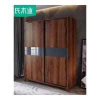 北欧家具简约现代卧室经济型胡桃木色衣柜衣橱实木柜子储物柜DQ1D 【DQ1D趟门衣柜+TYJZ衣柜推拉镜】长约1.8