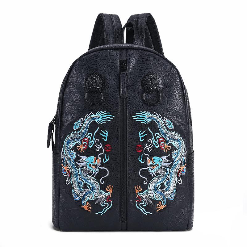 【支持礼品卡支付】初弎中国风潮牌复古书包双青龙戏珠刺绣狮子头双肩