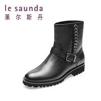 莱尔斯丹 秋冬新款专柜款金属链饰短筒女靴 8T31501