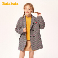 巴拉巴拉童装女童羊毛大衣儿童呢子外套2019新款秋冬中大童格纹潮