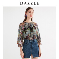 DAZZLE地素 18春专柜新款气质印花收褶花边袖口雪纺上衣2F1D5236A