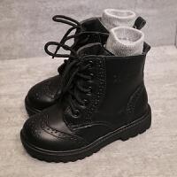 秋冬新款女童靴子宝宝马丁靴单靴真皮短靴男童黑色棉鞋儿童雪地靴 真皮 单靴