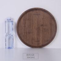 日式木质托盘竹木质托盘酒店水果茶杯盘子小碟家用餐圆长方形创意日式个性 圆形 30*30*2