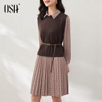 OSA欧莎2021年秋装新款复古格纹长袖中长款毛衣裙两件套装连衣裙女