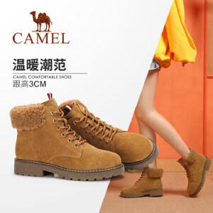 Camel/骆驼2018冬季新款 时尚潮流大气街头英伦短筒系带低跟女靴