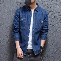 日系复古衬衫男士秋季原宿风学生休闲格子水洗口袋衬衣纯色牛仔衬衫 日系