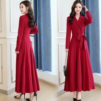 红色连衣裙秋装长裙2018初秋新款女装修身气质有女人味的早秋裙子