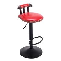 美式铁艺酒吧椅复古吧台椅子升降实木家用高脚凳吧台凳子欧式旋转