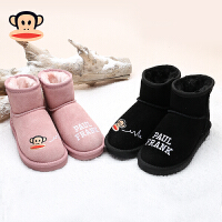 大嘴猴童鞋小女孩保暖棉靴加绒女童鞋2017冬季新款男童儿童雪地靴