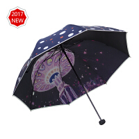 20190814045139931天堂伞太阳伞防晒防紫外线黑胶晴雨两用女三折叠遮阳伞小清新雨伞