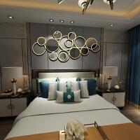 壁饰壁挂装饰 创意欧式墙壁金属挂饰镜子壁挂客厅餐厅墙面立体装饰品轻奢壁饰圆镜子