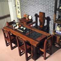 老船木茶桌椅组合实木家具中式客厅功夫茶台户外小型茶桌阳台茶几 1.8米+雕龙主人椅+4靠背椅 套价 整装