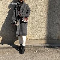 自制复古风格子毛呢外套韩版气质学院纽扣中长款呢子大衣