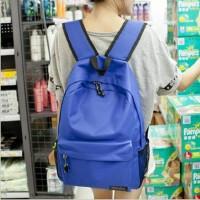 韩版双肩背包大红色书包高中学生书包男女士潮背包纯色书包
