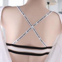 新款白色抹胸裹胸女字母吊带小背心美背交叉带内衣学生少女有插片