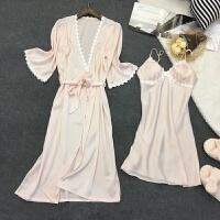 性感睡衣女夏季小胸冰丝绸聚拢带胸垫睡裙吊带火辣两件套装