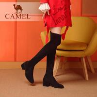 camel骆驼女鞋冬季新品时尚休闲韩版百搭弹力布瘦瘦靴子高跟长靴